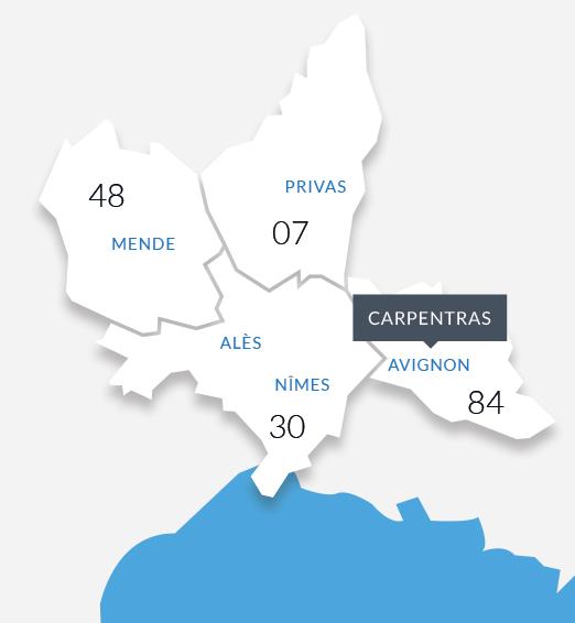 compétence territoriale de SCP HIELY - KLUCZYNSKI Huissiers de Justice à Carpentras en Vaucluse (84)